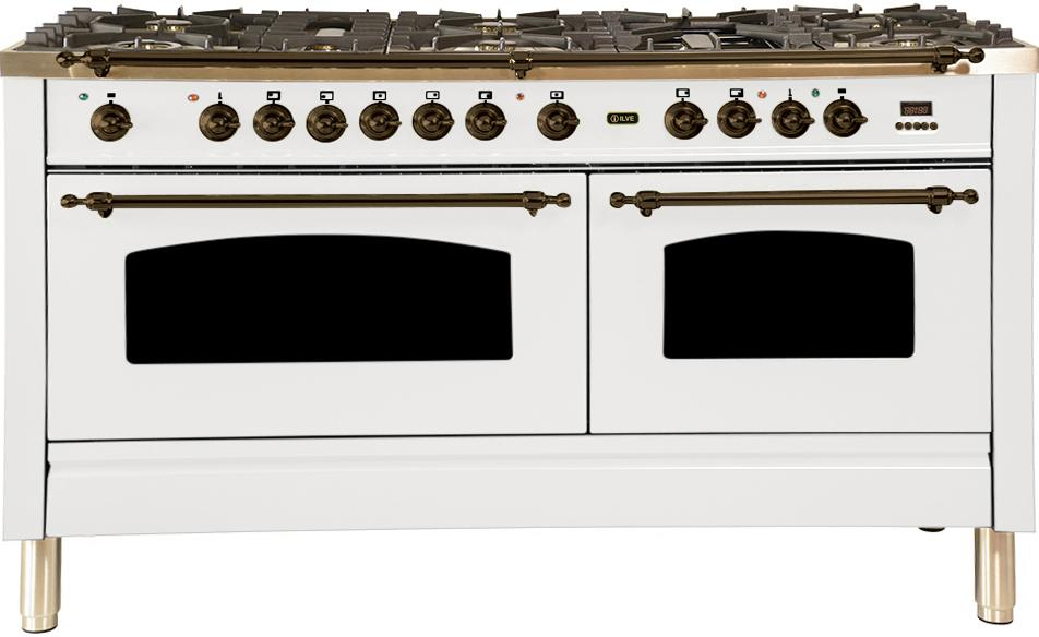 "Nostalgie Series Dual Fuel Natural Gas Range with 8 Sealed Burners  5.99 cu. ft. Total Capacity True Convection Oven  Griddle  with Bronze Trim  in White UPN150FDMPBY 60"" - America Best Appliances, LLC"