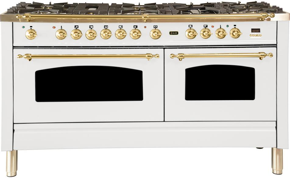"Nostalgie Series Dual Fuel Natural Gas Range with 8 Sealed Burners  5.99 cu. ft. Total Capacity True Convection Oven  Griddle  with Brass Trim  in White UPN150FDMPB 60"" - America Best Appliances, LLC"