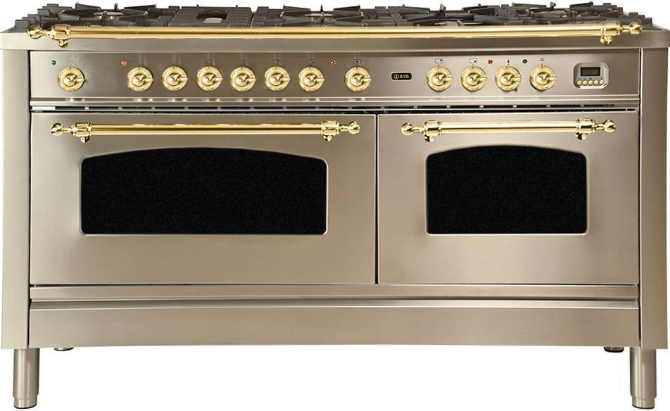 "Nostalgie Series Dual Fuel Natural Gas Range with 8 Sealed Burners  5.99 cu. ft. Total Capacity True Convection Oven  Griddle  with Brass Trim  in Stainless Steel UPN150FDMPI 60"" - America Best Appliances, LLC"
