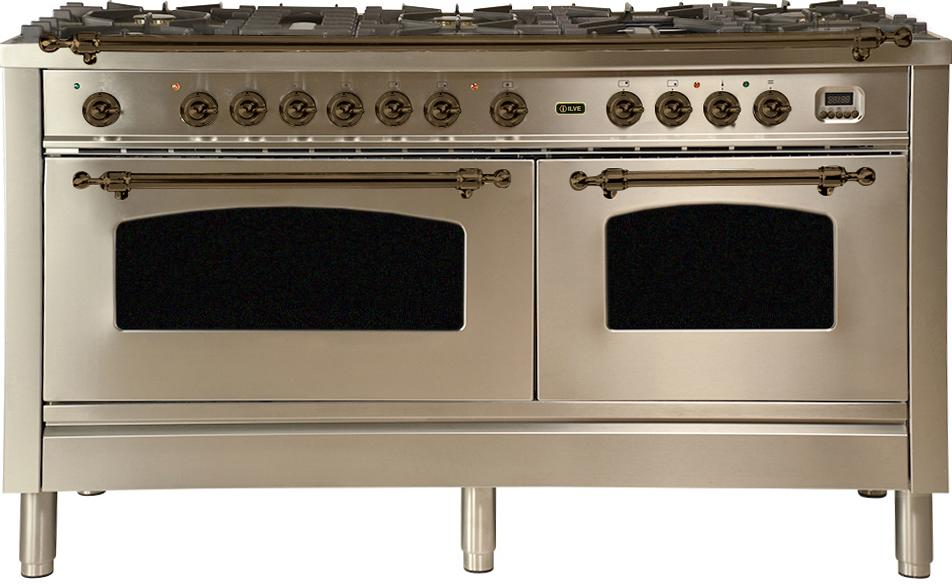 "Nostalgie Series Dual Fuel Natural Gas Range with 8 Sealed Burners  5.99 cu. ft. Total Capacity True Convection Oven  Griddle  with Bronze Trim  in Stainless Steel UPN150FDMPIY 60"" - America Best Appliances, LLC"