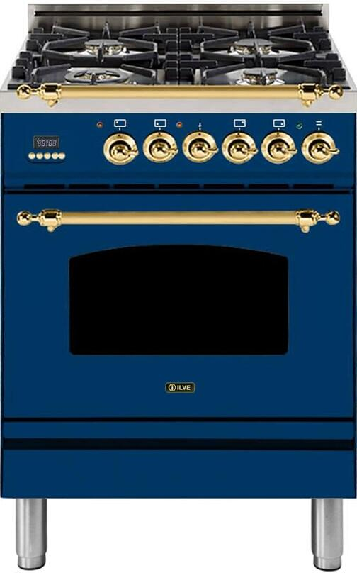 "Nostalgie Series Freestanding Dual Fuel Range with 4 Sealed Burners  2.44 cu. ft. Oven Capacity  Cast Iron Grates  Warming Drawer  Brass Trim  in Blue UPN60DMPBLLP Liquid Propane 24"" - America Best Appliances, LLC"
