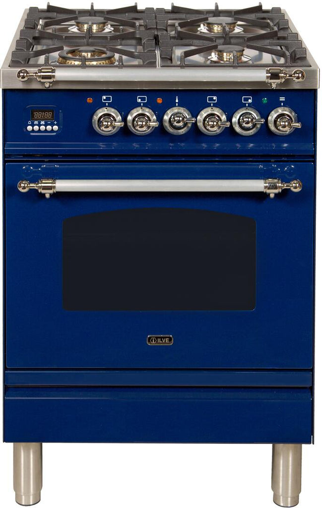 "Nostalgie Series Freestanding Dual Fuel Range with 4 Sealed Burners  2.44 cu. ft. Oven Capacity  Cast Iron Grates  Warming Drawer  Chrome Trim  in Blue UPN60DMPBLXLP Liquid Propane 24"" - America Best Appliances, LLC"