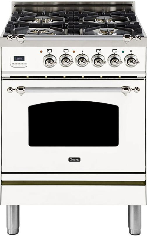"Nostalgie Series Freestanding Dual Fuel Range with 4 Sealed Burners  2.44 cu. ft. Oven Capacity  Cast Iron Grates  Warming Drawer  Chrome Trim  in White UPN60DMPBXLP Liquid Propane 24"" - America Best Appliances, LLC"