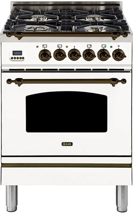 "Nostalgie Series Freestanding Dual Fuel Range with 4 Sealed Burners  2.44 cu. ft. Oven Capacity  Cast Iron Grates  Warming Drawer  Bronze Trim  in White UPN60DMPBYLP Liquid Propane 24"" - America Best Appliances, LLC"