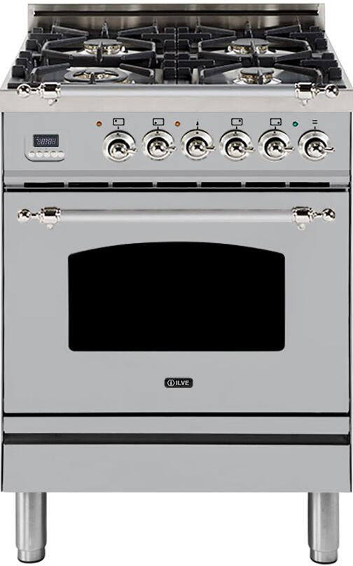 "Nostalgie Series Freestanding Dual Fuel Range with 4 Sealed Burners  2.44 cu. ft. Oven Capacity  Cast Iron Grates  Warming Drawer  Chrome Trim  in Stainless Steel  UPN60DMPIX Natural Gas 24"" - America Best Appliances, LLC"