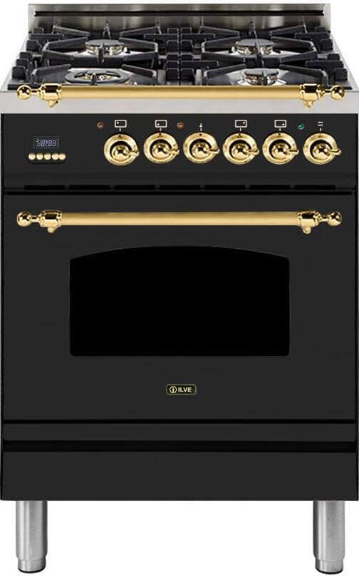 "Nostalgie Series Freestanding Dual Fuel Range with 4 Sealed Burners  2.44 cu. ft. Oven Capacity  Cast Iron Grates  Warming Drawer  Brass Trim  in Glossy Black  UPN60DMPNLP Liquid Propane 24"" - America Best Appliances, LLC"