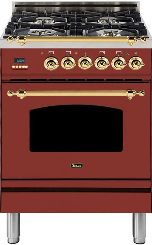 "Nostalgie Series Freestanding Dual Fuel Range with 4 Sealed Burners  2.44 cu. ft. Oven Capacity  Cast Iron Grates  Warming Drawer  Brass Trim  in Burgundy  UPN60DMPRBLP Liquid Propane 24"" - America Best Appliances, LLC"