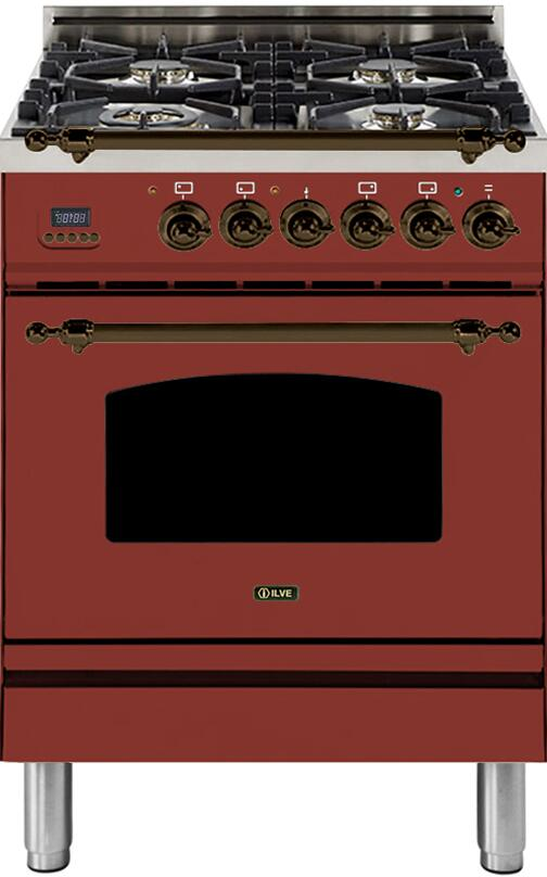 "Nostalgie Series Freestanding Dual Fuel Range with 4 Sealed Burners  2.44 cu. ft. Oven Capacity  Cast Iron Grates  Warming Drawer  Bronze Trimin Burgundy UPN60DMPRBYLP Liquid Propane 24"" - America Best Appliances, LLC"