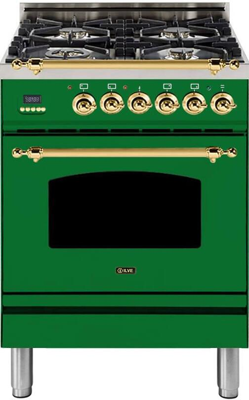 "Nostalgie Series Freestanding Dual Fuel Range with 4 Sealed Burners  2.44 cu. ft. Oven Capacity  Cast Iron Grates  Warming Drawer  Brass Trim  in Emerald Green  UPN60DMPVS Natural Gas 24"" - America Best Appliances, LLC"
