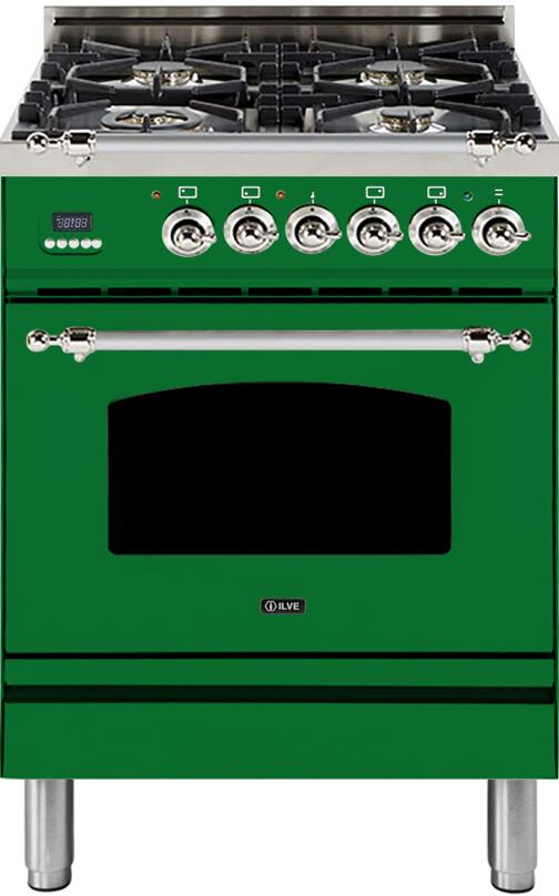 "Nostalgie Series 24"" Dual Fuel Natural Gas Range (Chrome/Emerald Green) - America Best Appliances, LLC"
