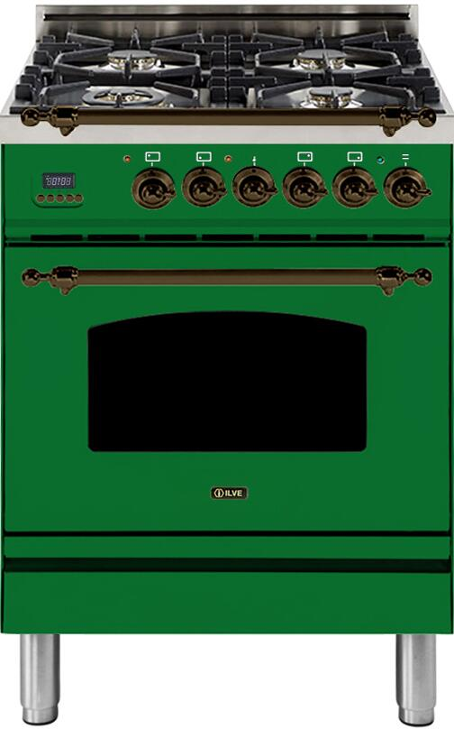 "Nostalgie Series Freestanding Dual Fuel Range with 4 Sealed Burners  2.44 cu. ft. Oven Capacity  Cast Iron Grates  Warming Drawer  Bronze Trim  in Emerald Green  UPN60DMPVSYLP Liquid Propane 24"" - America Best Appliances, LLC"