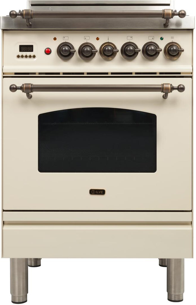 "Nostalgie Series Freestanding Gas Range with 4 Semi-Sealed Burners  2.4 cu. ft. Oven Capacity  Full Width Warming Drawer  Digital Clock and Timer  2 Oven Racks  Oiled Bronze Trim  and Flame Failure Safety Device: Antique White UPN60DVGGAY 24"" - America Best Appliances, LLC"