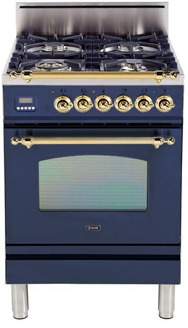 "Nostalgie Series Freestanding Gas Range with 4 Brass Sealed Burners  2.4 cu. ft. Oven Capacity  Full Width Drawer  Digital Clock and Timer  2 Oven Racks  Brass Trim  in Midnight Blue UPN60DVGGBL 24"" - America Best Appliances, LLC"