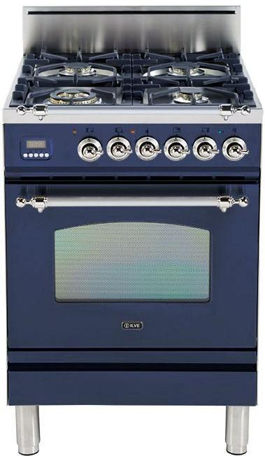 "Nostalgie Series Freestanding Gas Range with 4 Brass Sealed Burners  2.4 cu. ft. Oven Capacity  Full Width Drawer  Digital Clock and Timer  2 Oven Racks  Chrome Trim  in Midnight Blue UPN60DVGGBLX 24"" - America Best Appliances, LLC"