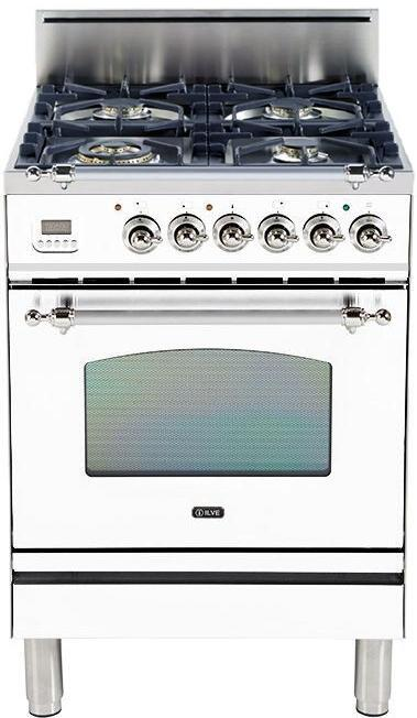 "Nostalgie Series Freestanding Gas Range with 4 Brass Sealed Burners  2.4 cu. ft. Oven Capacity  Full Width Drawer  Digital Clock and Timer  2 Oven Racks  Chrome Trim  in True White UPN60DVGGBX 24"" - America Best Appliances, LLC"