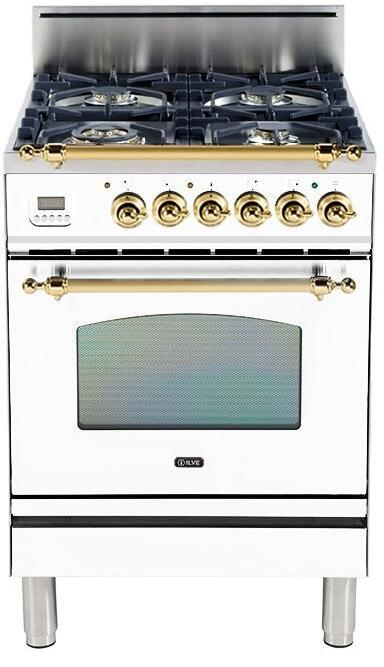 "Nostalgie Series Freestanding Gas Range with 4 Brass Sealed Burners  2.4 cu. ft. Oven Capacity  Full Width Drawer  Digital Clock and Timer  2 Oven Racks  Brass Trim  in True White UPN60DVGGB 24"" - America Best Appliances, LLC"