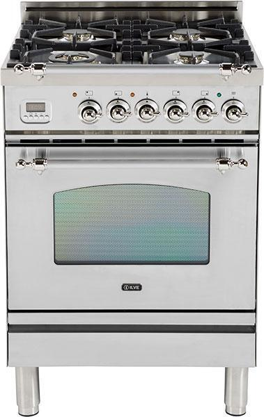 "Nostalgie Series Freestanding Gas Range with 4 Brass Sealed Burners  2.4 cu. ft. Oven Capacity  Full Width Drawer  Digital Clock and Timer  2 Oven Racks  Chrome Trim  in Stainless Steel UPN60DVGGIX 24"" - America Best Appliances, LLC"