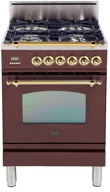 "Nostalgie Series Freestanding Gas Range with 4 Brass Sealed Burners  2.4 cu. ft. Oven Capacity  Full Width Drawer  Digital Clock and Timer  2 Oven Racks  Brass Trim  in Burgundy  UPN60DVGGRB 24"" - America Best Appliances, LLC"