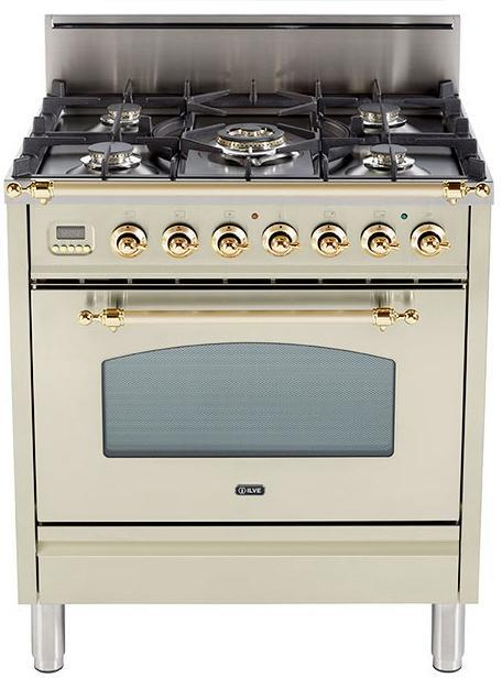 "Nostalgie Series Freestanding Gas Range with 5 Burners  3 cu. ft. Oven Capacity  Digital Clock and Timer  Full Width Warming Drawer  2 Oven Racks  and Brass Trim  Antique White UPN76DVGGALP 30"" - America Best Appliances, LLC"
