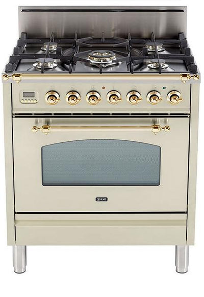 "Nostalgie Series Freestanding Gas Range with 5 Burners  3 cu. ft. Oven Capacity  Digital Clock and Timer  Full Width Warming Drawer  2 Oven Racks  and Brass Trim  Antique White UPN76DVGGA 30"" - America Best Appliances, LLC"