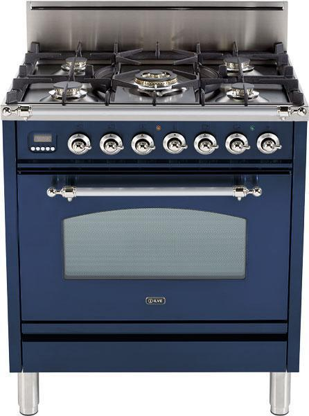 "Nostalgie Series Freestanding Gas Range with 5 Burners  3 cu. ft. Oven Capacity  Digital Clock and Timer  Full Width Warming Drawer  2 Oven Racks  and Chrome Trim  Midnight Blue UPN76DVGGBLXLP 30"" - America Best Appliances, LLC"