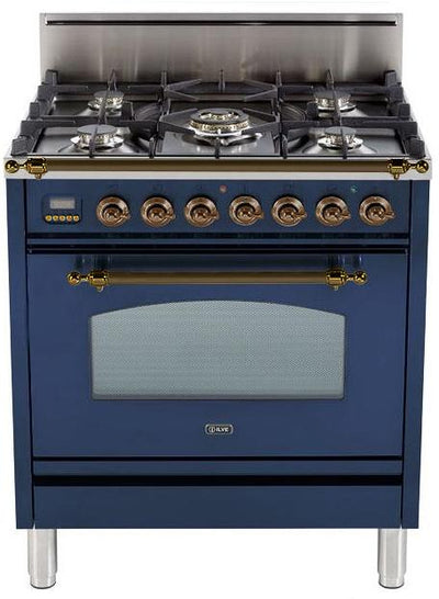 "Nostalgie Series Freestanding Gas Range with 5 Burners  3 cu. ft. Oven Capacity  Digital Clock and Timer  Full Width Warming Drawer  2 Oven Racks  and Oiled Bronze Trim  Midnight Blue UPN76DVGGBLY 30"" - America Best Appliances, LLC"