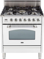 "Nostalgie Series Freestanding Gas Range with 5 Burners  3 cu. ft. Oven Capacity  Digital Clock and Timer  Full Width Warming Drawer  2 Oven Racks  and Chrome Trim  True White UPN76DVGGBX 30"" - America Best Appliances, LLC"