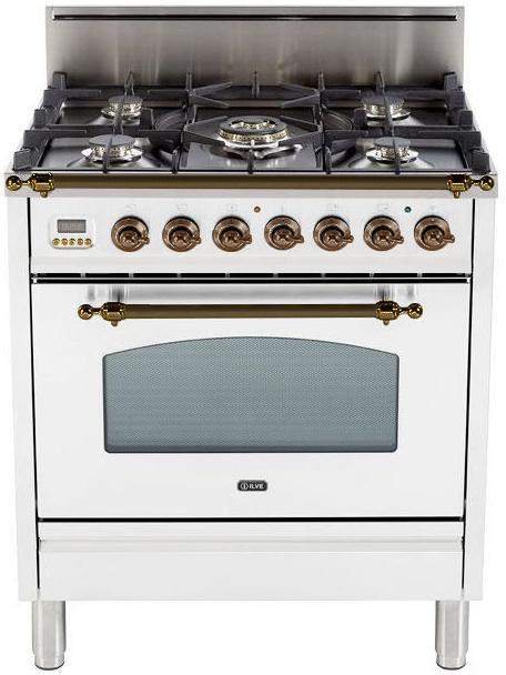 "Nostalgie Series Freestanding Gas Range with 5 Burners  3 cu. ft. Oven Capacity  Digital Clock and Timer  Full Width Warming Drawer  2 Oven Racks  and Oiled Bronze Trim  True White UPN76DVGGBYLP 30"" - America Best Appliances, LLC"