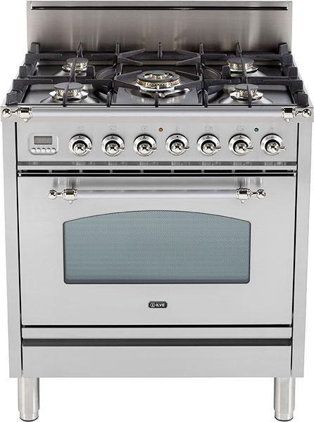 "Nostalgie Series Freestanding Gas Range with 5 Burners  3 cu. ft. Oven Capacity  Digital Clock and Timer  Full Width Warming Drawer  2 Oven Racks  and Chrome Trim  Stainless Steel UPN76DVGGIXLP 30"" - America Best Appliances, LLC"