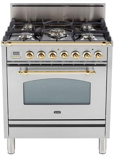 "Nostalgie Series Freestanding Gas Range with 5 Burners  3 cu. ft. Oven Capacity  Digital Clock and Timer  Full Width Warming Drawer  2 Oven Racks  and Brass Trim  Stainless Steel UPN76DVGGI 30"" - America Best Appliances, LLC"