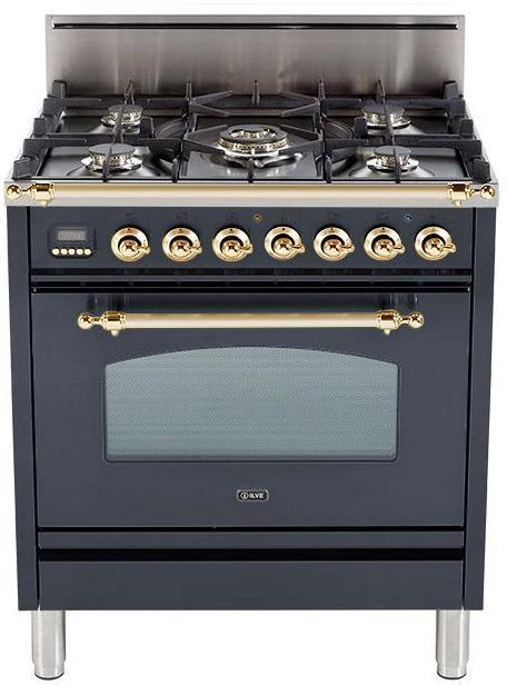 "Nostalgie Series  Freestanding Gas Range With Two 7000 BTU Semi-Rapid Burners  Digital Clock  Upper Handrail  LP Kit  Brass Trim & In Matte Black  UPN76DVGGMLP 30"" - America Best Appliances, LLC"