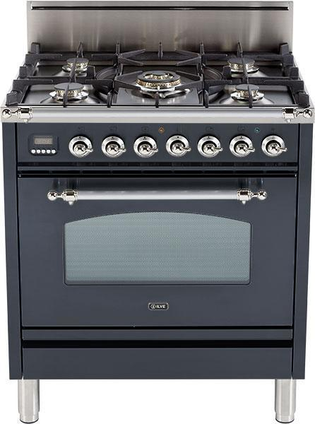 "Nostalgie Series Freestanding Gas Range with 5 Burners  3 cu. ft. Oven Capacity  Digital Clock and Timer  Full Width Warming Drawer  2 Oven Racks  and Chrome Trim  Matte Graphite  UPN76DVGGMX 30"" - America Best Appliances, LLC"