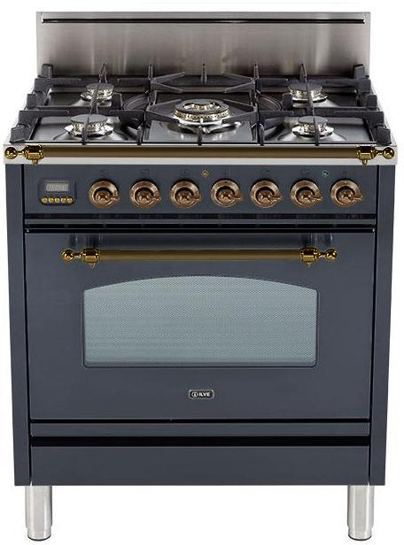 "Nostalgie Series Freestanding Gas Range with 5 Burners  3 cu. ft. Oven Capacity  Digital Clock and Timer  Full Width Warming Drawer  2 Oven Racks  and Oiled Bronze Trim  Matte Graphite  UPN76DVGGMY 30"" - America Best Appliances, LLC"