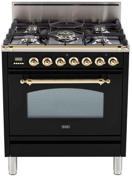"Nostalgie Series Freestanding Gas Range with 5 Burners  3 cu. ft. Oven Capacity  Digital Clock and Timer  Full Width Warming Drawer  2 Oven Racks  and Brass Trim  Gloss Black UPN76DVGGN 30"" - America Best Appliances, LLC"