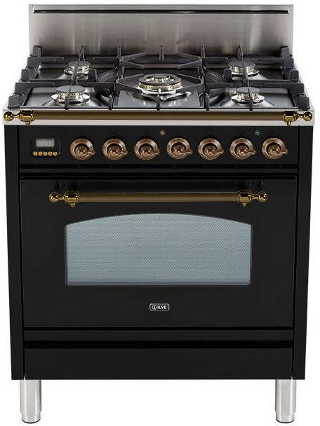 "Nostalgie Series Freestanding Gas Range with 5 Burners  3 cu. ft. Oven Capacity  Digital Clock and Timer  Full Width Warming Drawer  2 Oven Racks  and Oiled Bronze Trim  Gloss Black  UPN76DVGGNYLP 30"" - America Best Appliances, LLC"