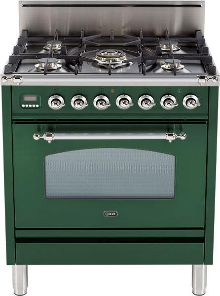 "Nostalgie Series Freestanding Gas Range with 5 Burners  3 cu. ft. Oven Capacity  Digital Clock and Timer  Full Width Warming Drawer  2 Oven Racks  and Chrome Trim  Emerald Green UPN76DVGGVSX 30"" - America Best Appliances, LLC"
