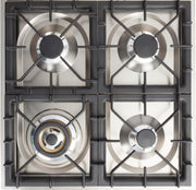 "Nostalgie Series Freestanding Gas Range with 4 Brass Sealed Burners  2.4 cu. ft. Oven Capacity  Full Width Drawer  Digital Clock and Timer  2 Oven Racks  Brass Trim  in Matte Graphite  UPN60DVGGM 24"" - America Best Appliances, LLC"