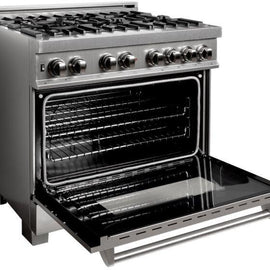 Professional Dual Fuel Range in Snow Stainless with Snow Stainless Door (RAS-SN-36)  ZLINE 36 in. - America Best Appliances, LLC