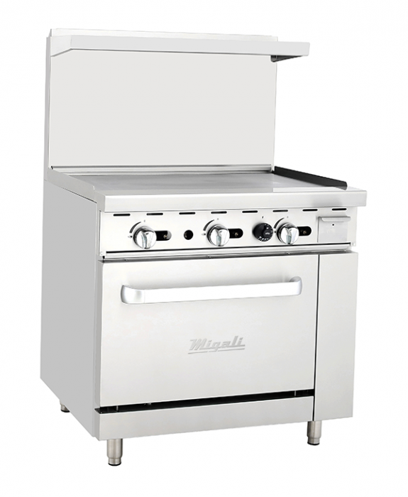 "Migali C-RO-36G-NG 36"" Natural Gas Griddle with 102,000 BTU, Oven, and Adjustable Legs in Stainless Steel - America Best Appliances, LLC"