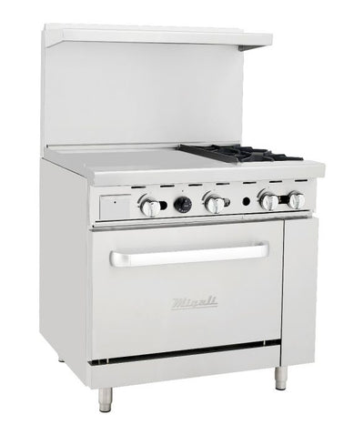 "Migali C-RO2-24GL-LP 36"" Liquid Propane Range with Two 23,000 BTU Burners, 24"" Griddle, and 27,000 BTU Oven in Stainless Steel - America Best Appliances, LLC"