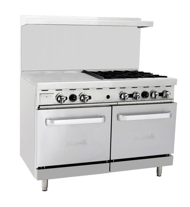 "Migali C-RO4-24GL-LP 48"" Liquid Propane Range with 4 Burners, 24"" Griddle and Double Ovens, in Stainless Steel - America Best Appliances, LLC"