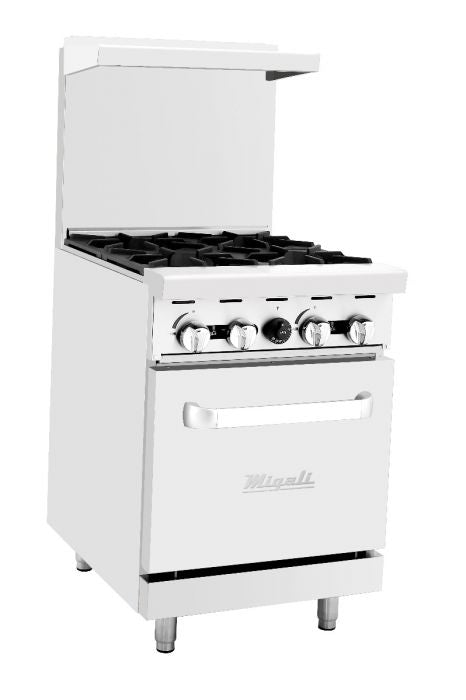"Migali C-RO4-LP 24"" Freestanding Natural Gas Range with Four 23,000 BTU Burners and 24,000 BTU Oven, in Stainless Steel - America Best Appliances, LLC"