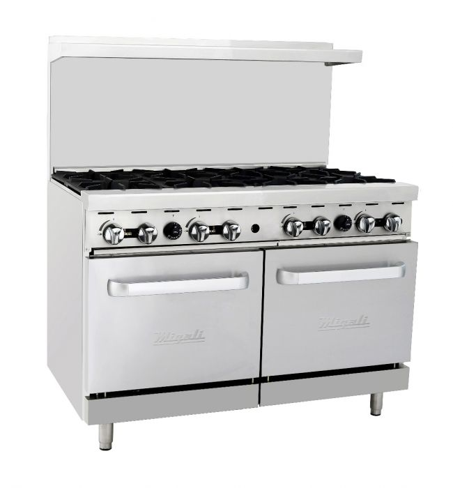 "Migali  C-RO8-LP 48"" Freestanding Liquid Propane Range with Eight 23,000 BTU Burners and Two 27000 BTU Ovens, in Stainless Steel - America Best Appliances, LLC"