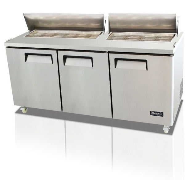 "Migali C-SP72-30BT-HC 72"" Competitor Series Mega Top Sandwich Prep Table with 30 (1/6 Size) Pan Capacity, Stainless Steel Construction, and 9.25"" Cutting Board, in Stainless Steel - America Best Appliances, LLC"