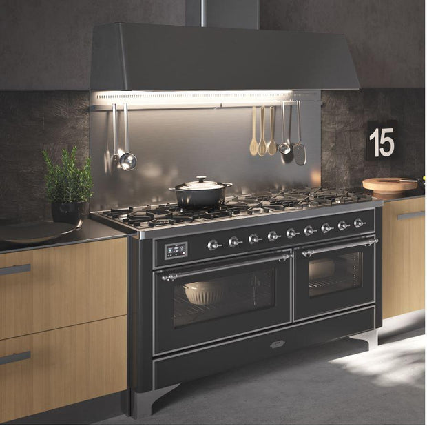 "Majestic II Series 60"" Dual Fuel Range with 9 Burners (Brass/White) - America Best Appliances, LLC"