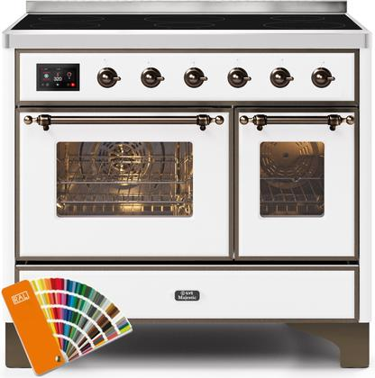 "Majestic II Series Induction Range with 6 Elements  Dual Ovens  TFT Control Display  Triple Glass Cool Oven Door   Bronze Trim  in Custom RAL Color""  UMDI10NS3ARALB 40 - America Best Appliances, LLC"