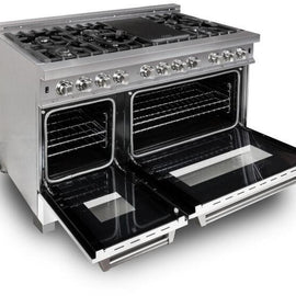 Professional Dual Fuel Range in Snow Stainless with White Matte Door (RAS-WM-48)  ZLINE 48 in. - America Best Appliances, LLC