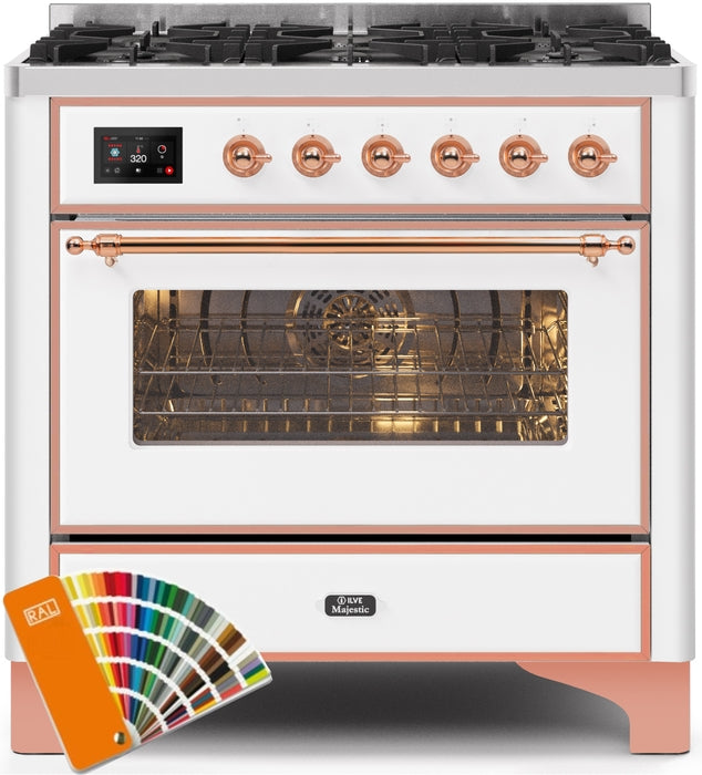 "Majestic II Series Dual Fuel Liquid Propane Range with 6 Burners  3.5 cu. ft. Oven Capacity  TFT Oven Control Display  Copper Trim  in Custom RAL Color UM096DNS3RALPLP 36"" - America Best Appliances, LLC"