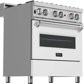 Professional Dual Fuel Range in Snow Stainless with White Matte Door (RAS-WM-30)  ZLINE 30 in. - America Best Appliances, LLC