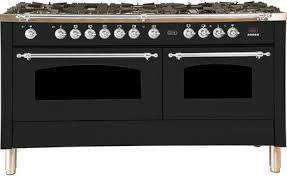 "Nostalgie Series Dual Fuel Liquid Propane Range with 8 Sealed Burners  5.99 cu. ft. Total Capacity True Convection Oven  Griddle  with Chrome Trim  in Matte Graphite  UPN150FDMPMXLP 60"" - America Best Appliances, LLC"